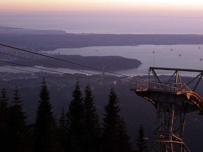Evening view of Vancouver from the top of Grouse Mountain