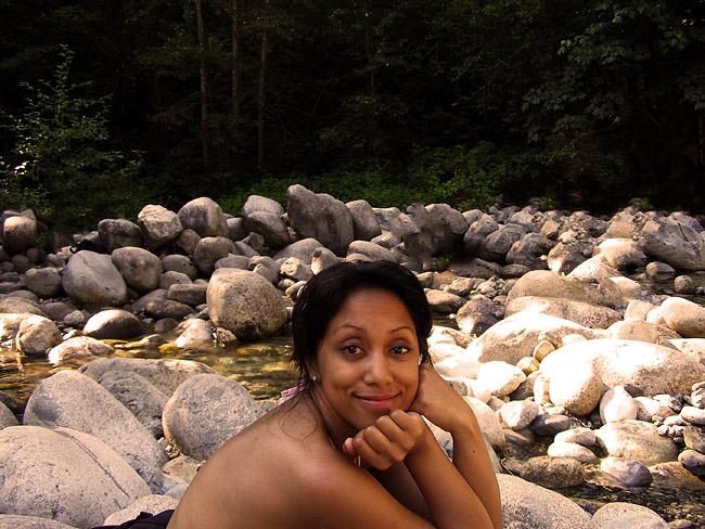 V on the river at Lynn Canyon on Vancouver's North Shore