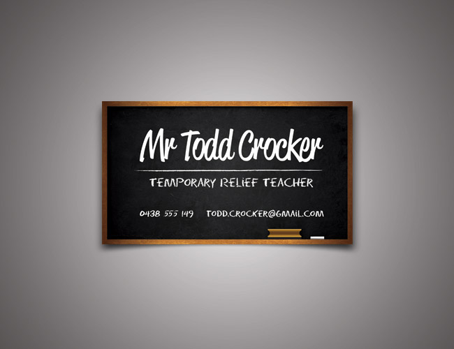 Temporary relief teacher business card