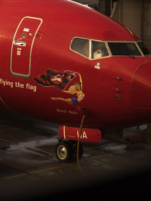 'Bondi Babe', a Qantas plane at Sydney airport