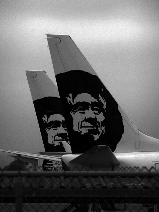 Inuit on the tailfin of Alaska Airlines in LAX