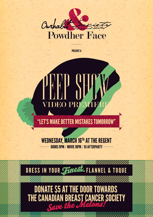 Poster for the Peep Show Video Premiere in Revelstoke