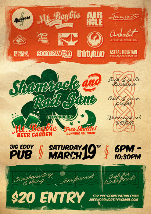 Poster for the Shamrock'n' Rail Jam in Revelstoke