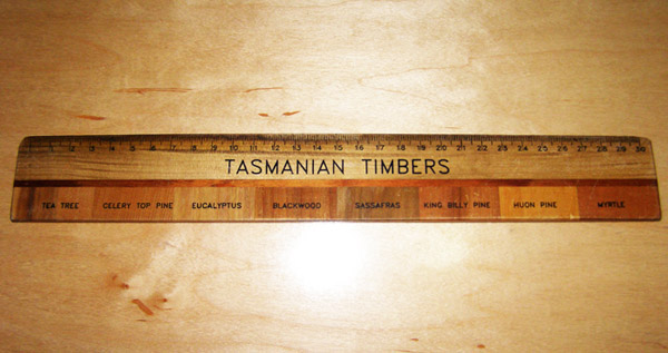 Ruler made of Tasmanian timber