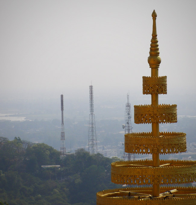 Buddhist temple and telegraph towers
