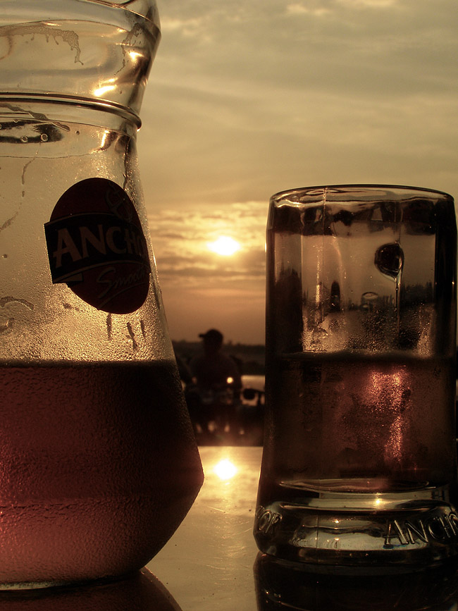 Jug of Anchor beer against the sunset