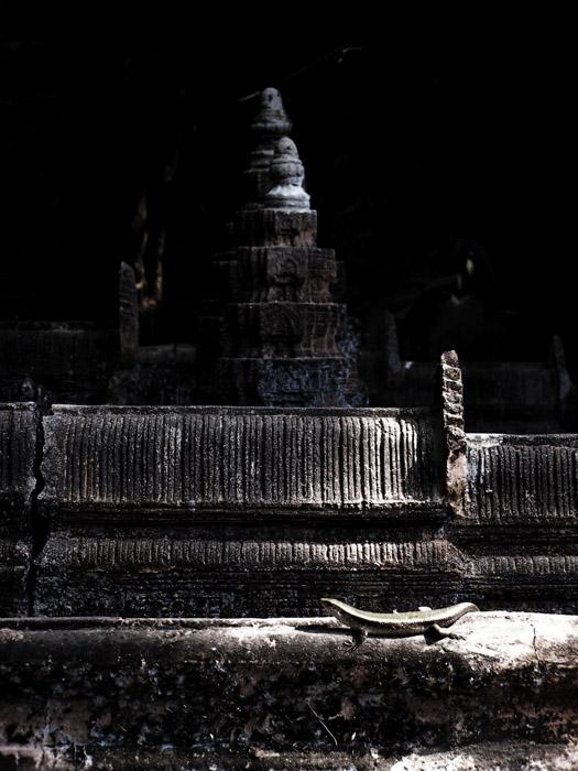 Lizard sunbathing on an Angkor Wat miniature sculpture
