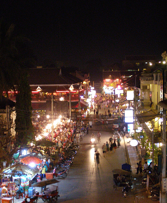 View of Pub Street in Siem Reap from the X Bar