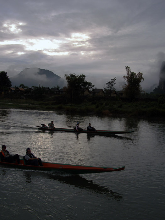 Tourist boats on the river in Vang Vieng