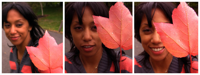 Girl & leaf triptych