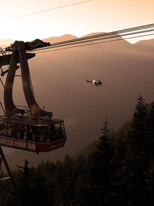 Helicopter and tram at Grouse Mountain