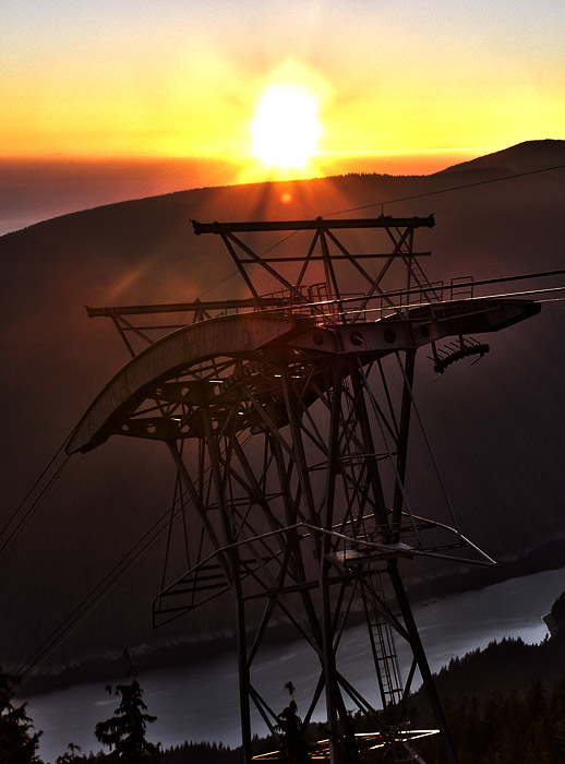 HDR photo of Grouse Mountain tram lift tower