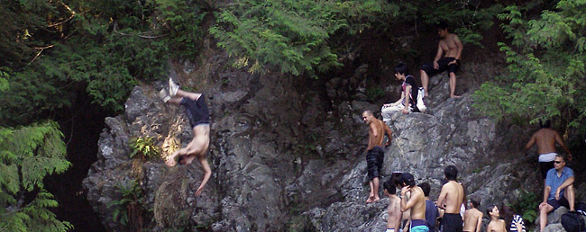 Cliff jumping at Lynn Canyon on Vancouver's North Shore