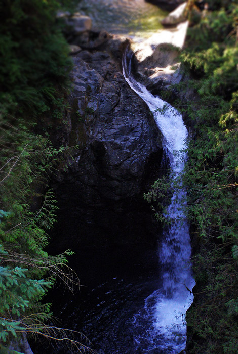 Cliff jumping waterfall at Lynn Canyon on Vancouver's North Shore