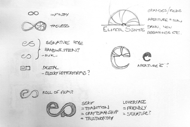 Elifer Santos identity logo sketches