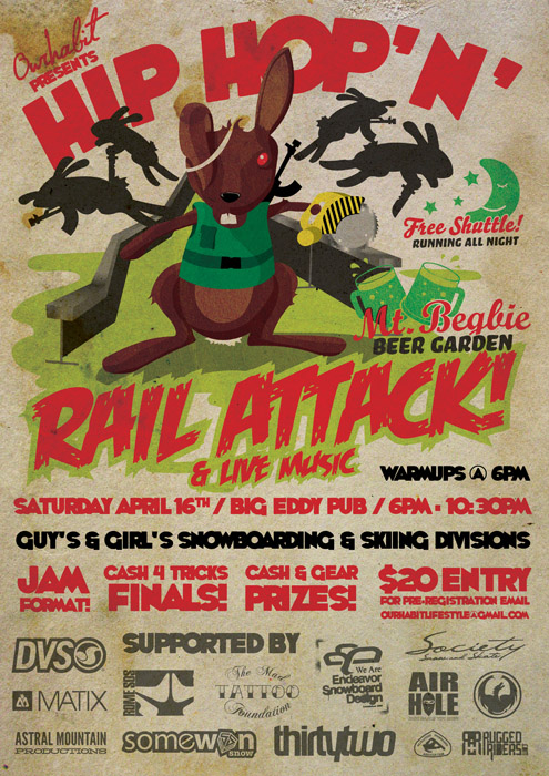 Poster for the Hip Hop'n' Rail Attack in Revelstoke