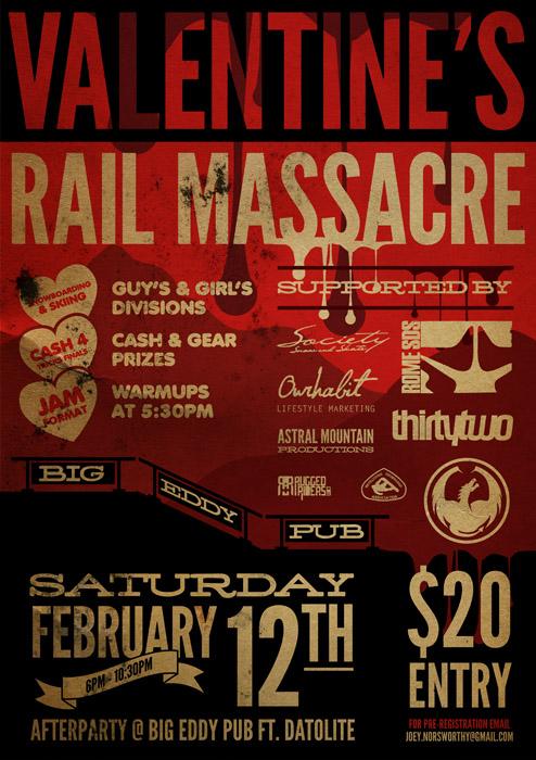 Poster for the Valentine's Rail Massacre in Revelstoke