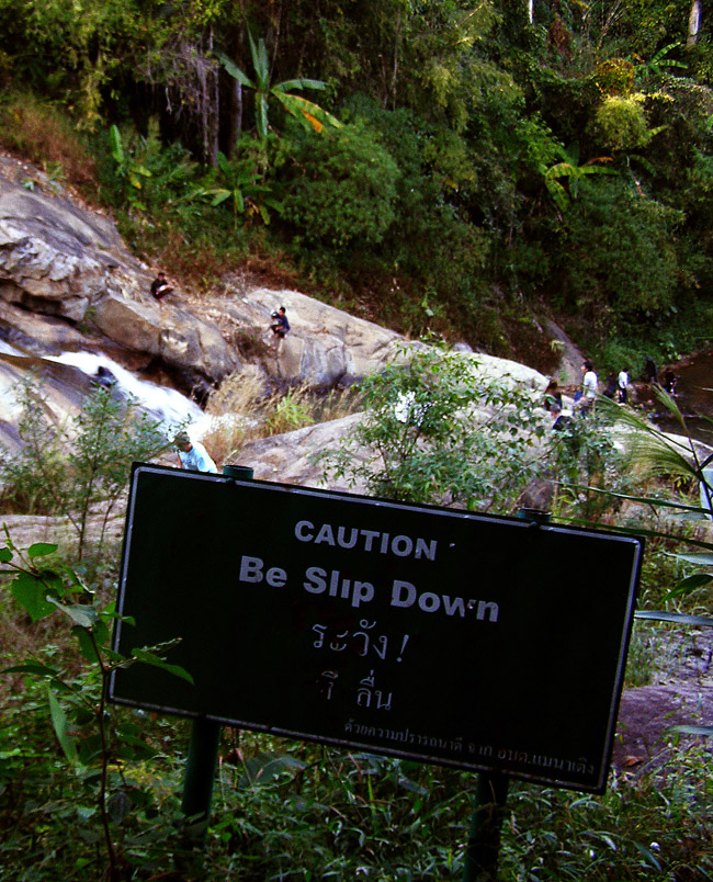 Sign at a waterfall near Pai
