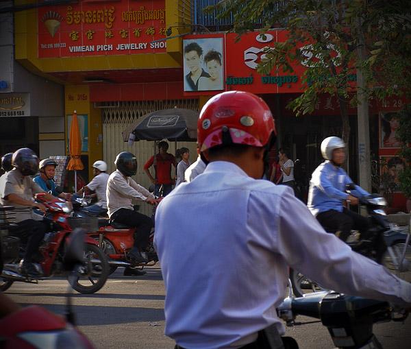 Scooter traffic in Phnom Penh