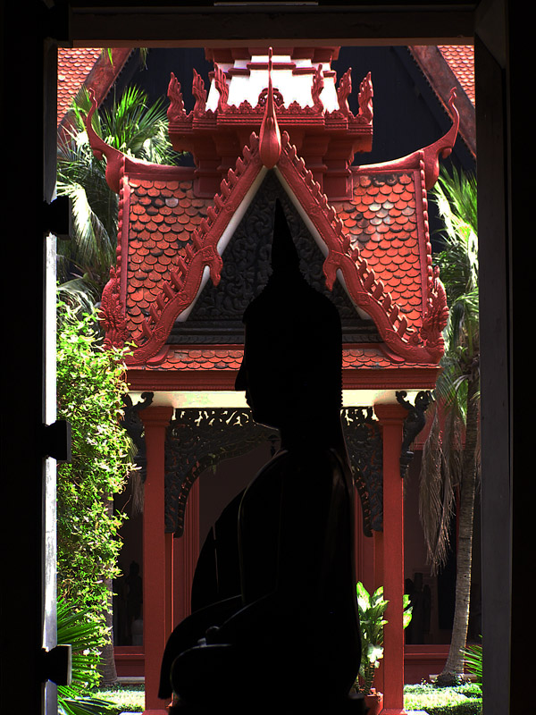 Buddha in a window frame in the Cambodian National Museum