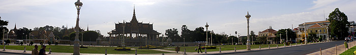Panorama of the square on the river side of the Royal Palace
