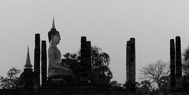 Buddha statue and pillars