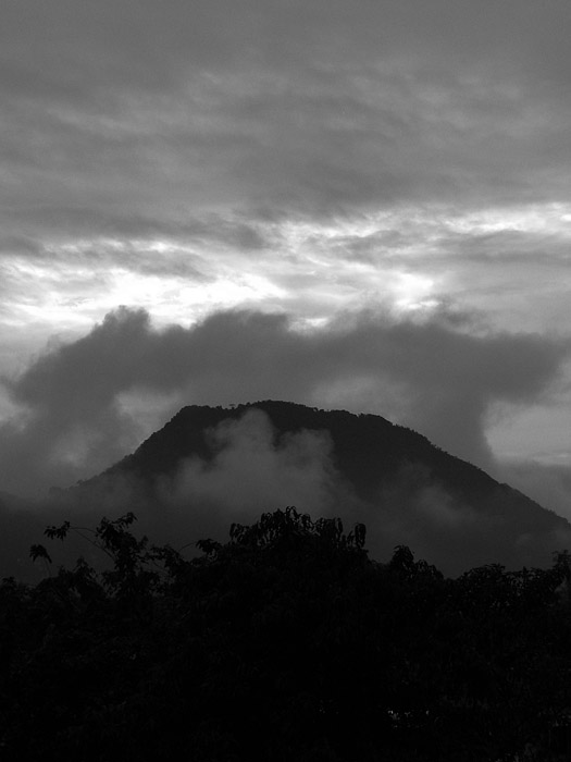 Hill, forest and cloud layers in Vang Vieng