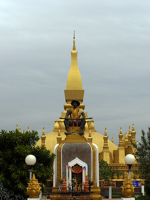 Statue in front of the Golden Stupa, Vientiane