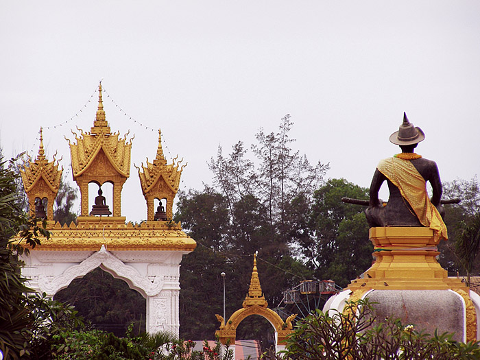 Statues and an archway in Vientiane
