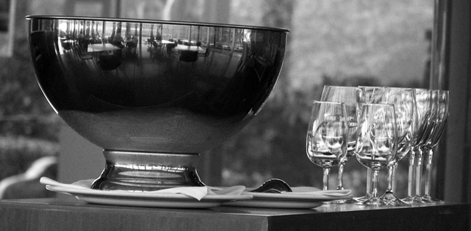 Glasses and pewter bowl