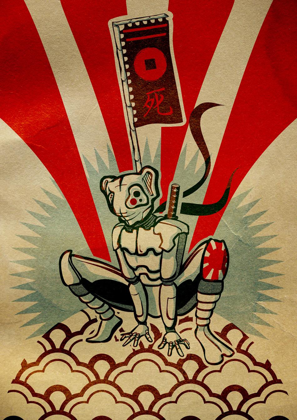 Mecha Samurai Robo Bear character illustration